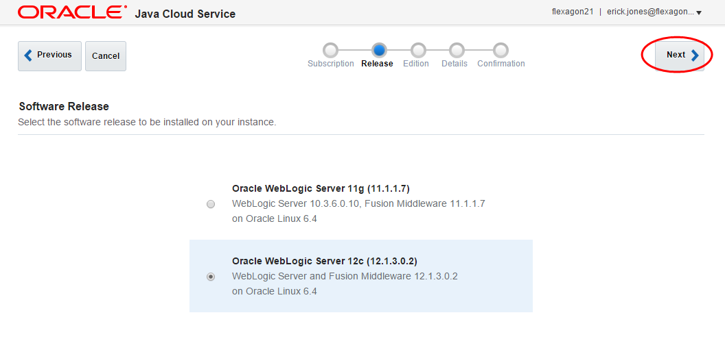 Creating an Oracle Java Cloud Service Instance - Flexagon