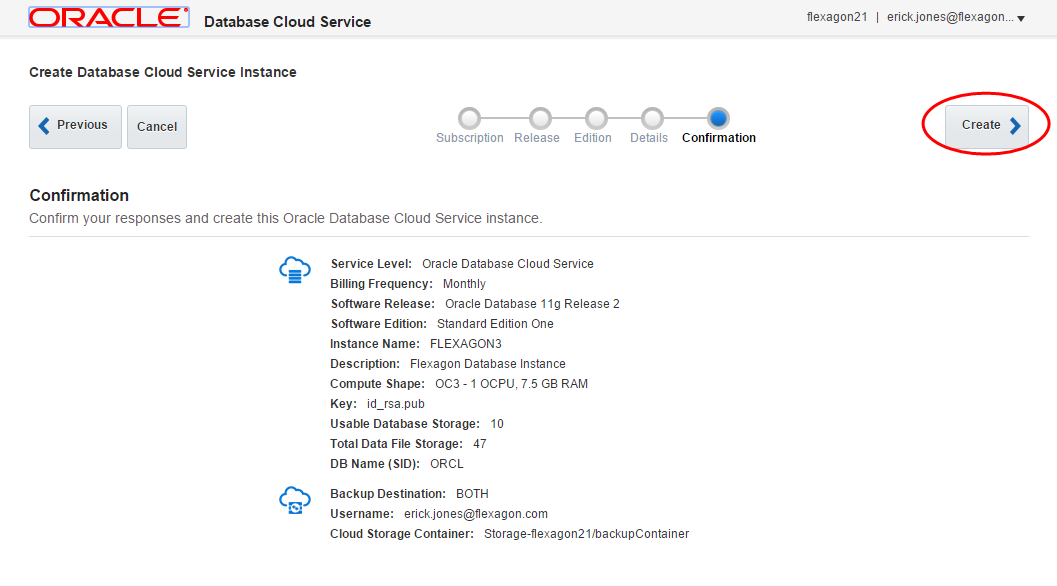 Creating an Oracle Database Cloud Service Instance - Flexagon