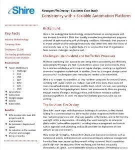 Shire is a FlexDeploy customer.