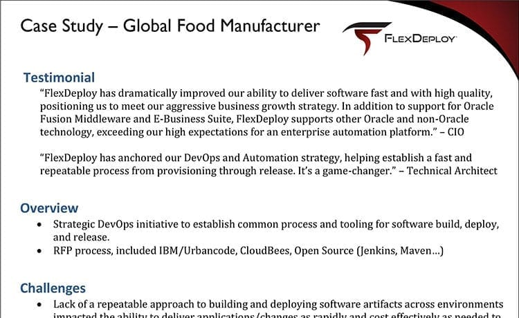 DevOps Case Study: Global Food Manufacturer