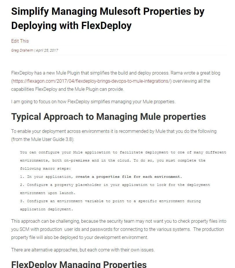 Simplify Managing Mulesoft Properties by Deploying with FlexDeploy blog post