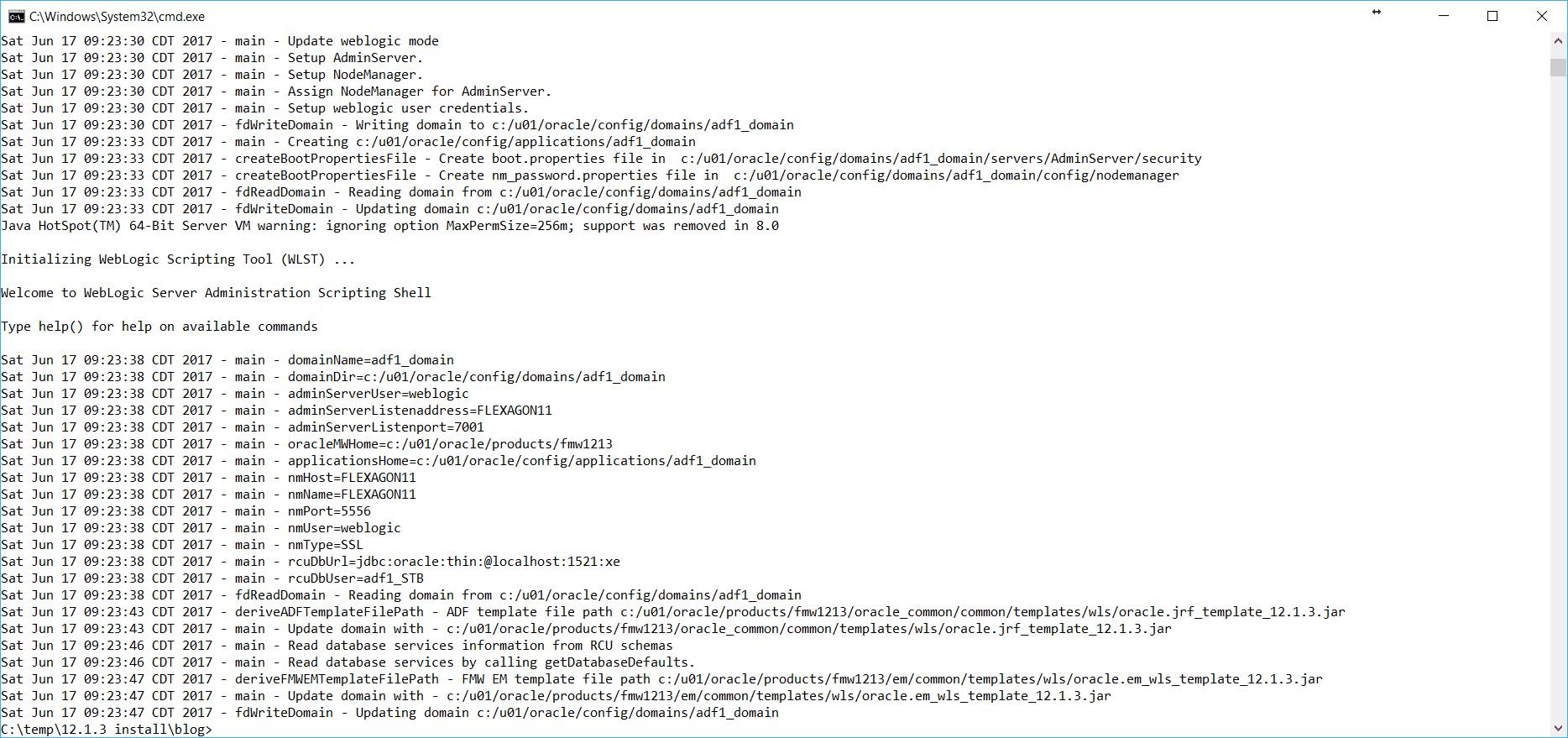 Automate Creation of ADF 12c WebLogic Domain - Flexagon