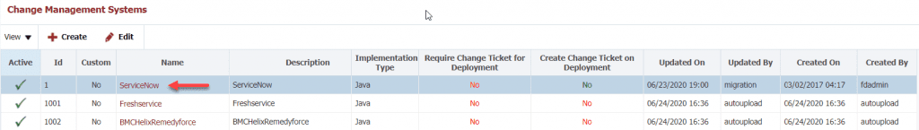 Default Configuration of ServiceNow in FlexDeploy's Change Management System