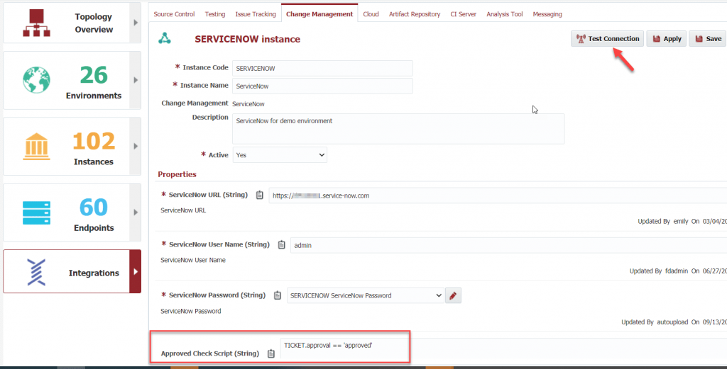 Creating a connection to the ServiceNow installation.