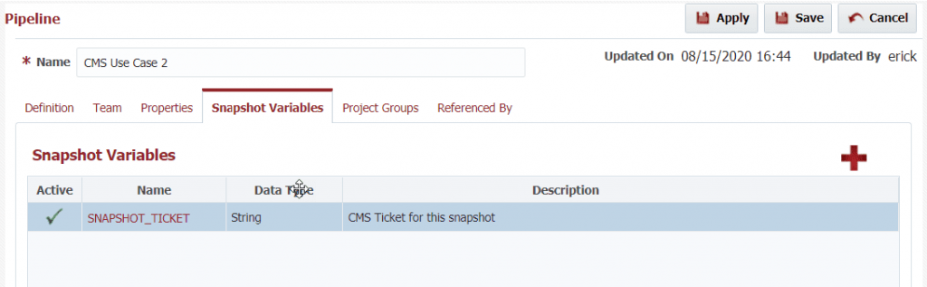 A snapshot variable in FlexDeploy to hold the ticket number