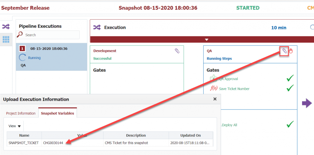 Updated variable in the Snapshot ticket in FlexDeploy.