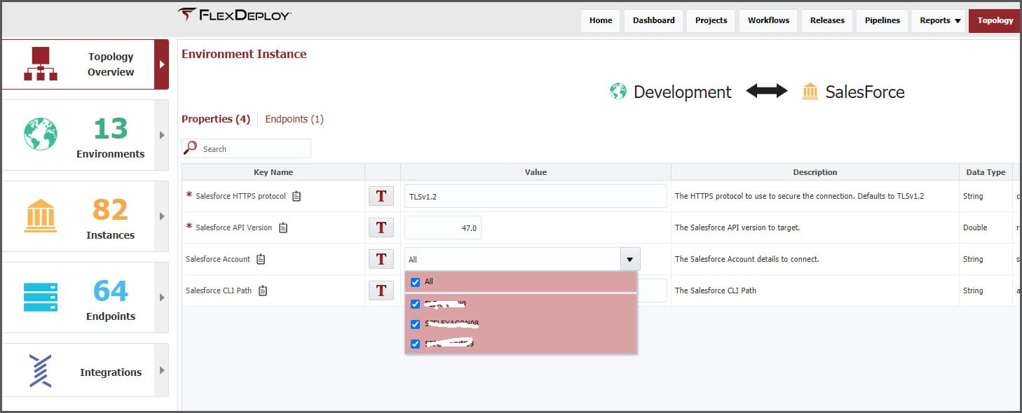 In the Topology Overview, click the Environment Instance and associate your Salesforce accounts with the environment.