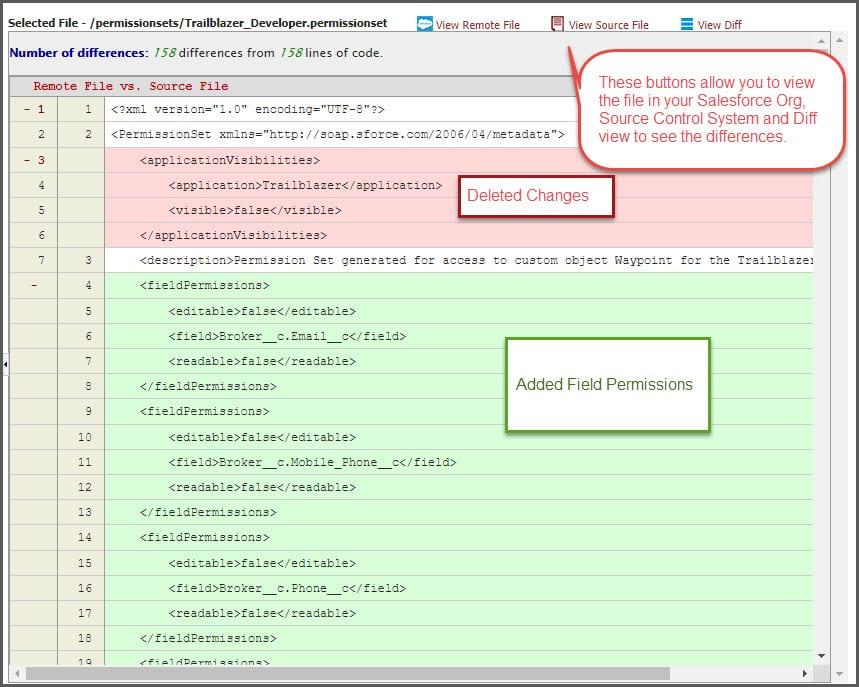 Use FlexDeploy to see differences source control Salesforce changes.