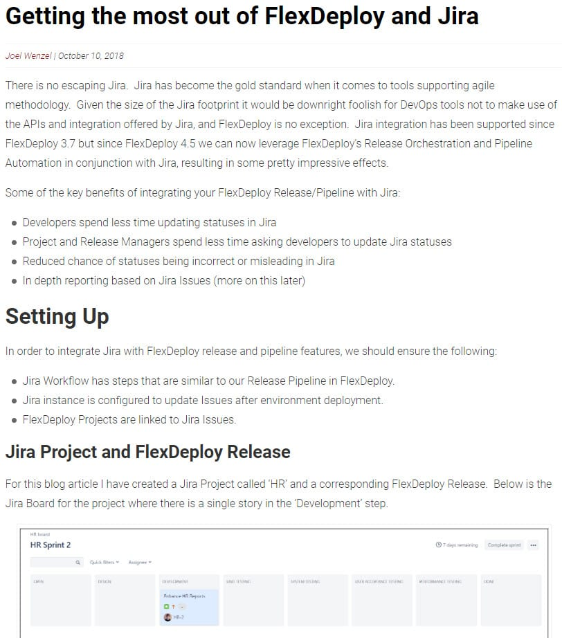 FlexDeploy Jira Integrations blog posts