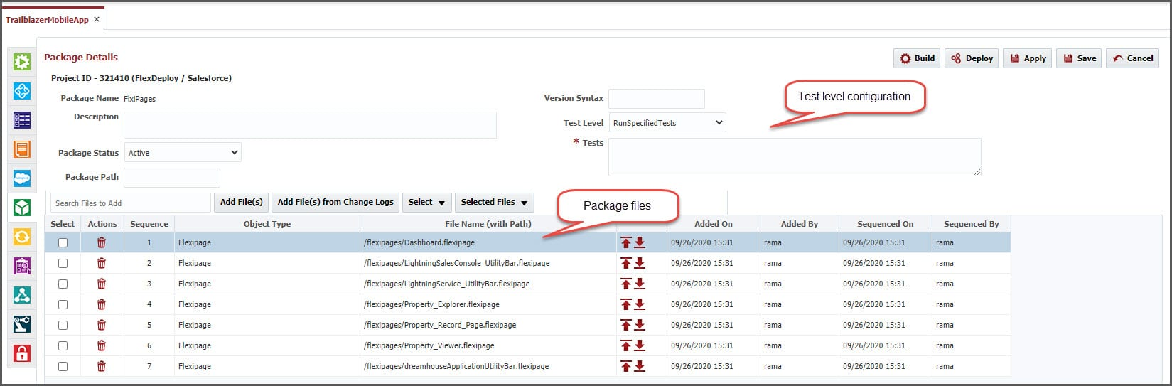 The Package Details screen of FlexDeploy