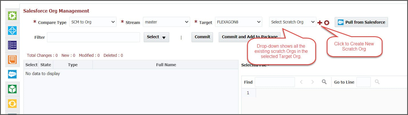 "The ""Select Scratch Org"" drop-down in FlexDeploy"