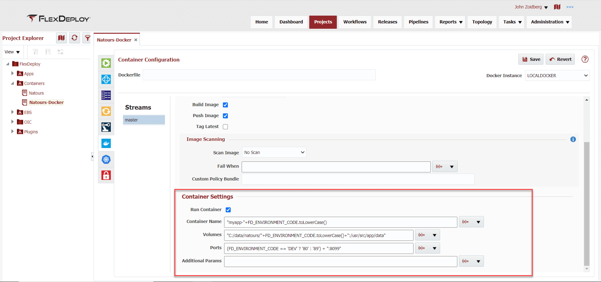 Container CD Settings in Projects Tab