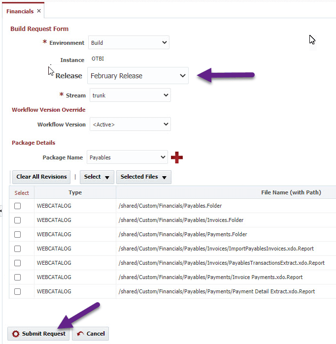 A Build Request Form in FlexDeploy