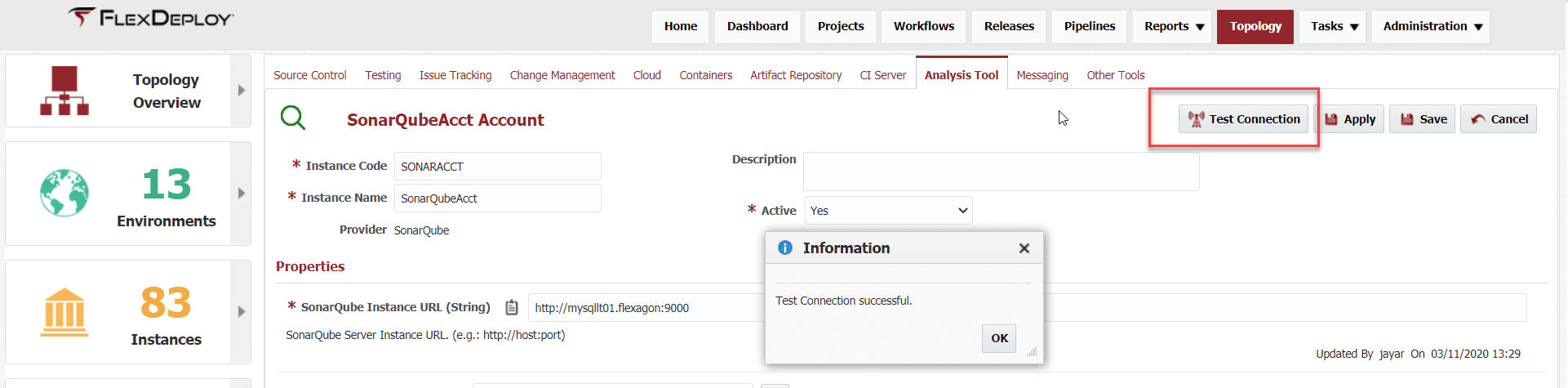 Test connection in the SonarQube Integration