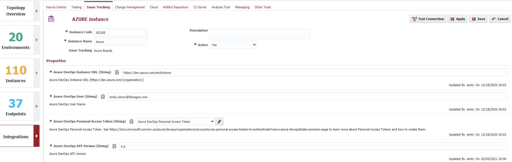 Azure DevOps Instance window in FlexDeploy