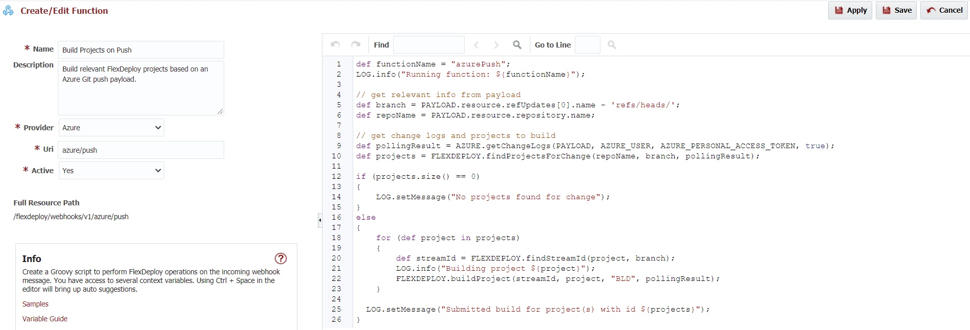 Webhook function options for Azure provider