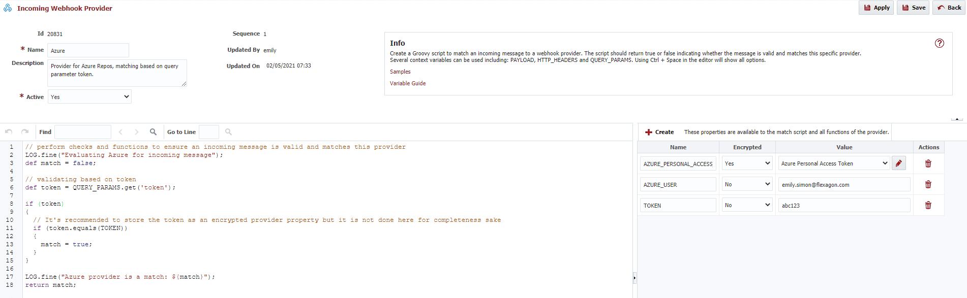 Incoming Webhook Provider Window