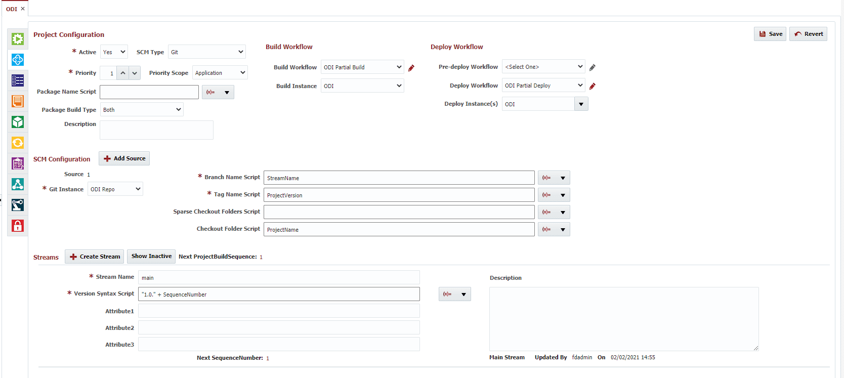 Project configuration for ODI project