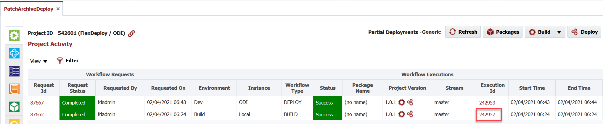 Build details in the Project Activity window