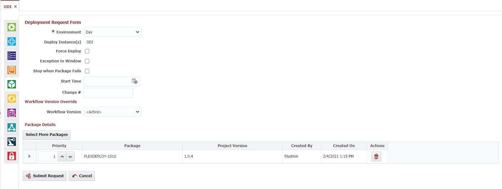 ODI Deployment Request Form in FlexDeploy