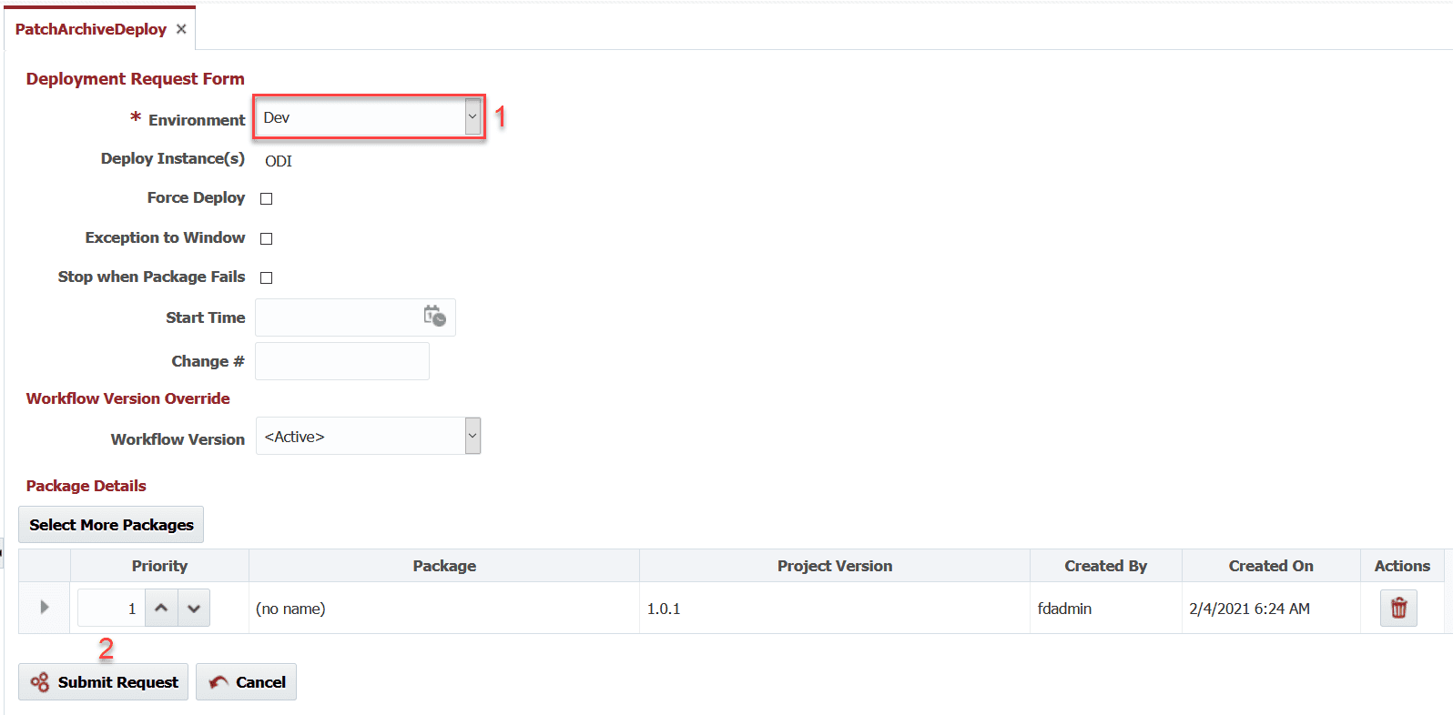 Deployment Request Form in FlexDeploy