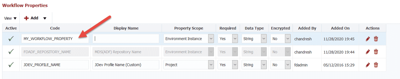 FlexDeploy UX Improvement: view the most important attributes for a property without scrolling.