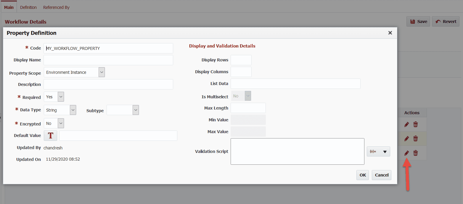 View and edit all configurations for the workflow property.