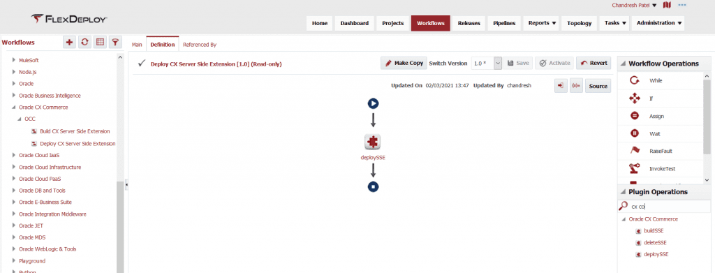 Deploy workflow for a CX Commerce Cloud Server Side Extension in FlexDeploy