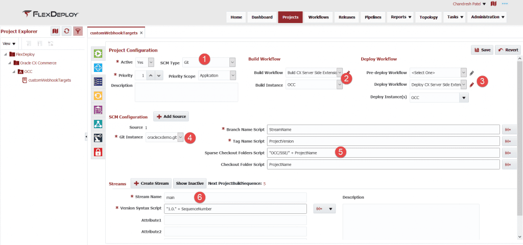 Project Configuration settings for FlexDeploy's Oracle CX Commerce Cloud plugin