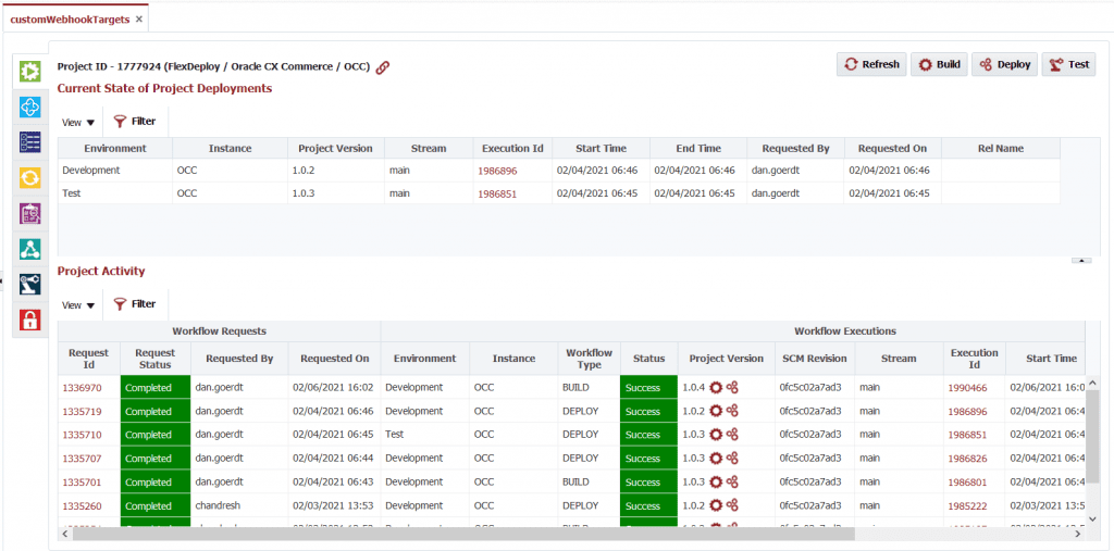 Build and deploy logs from the Oracle CX Commerce Cloud plugin