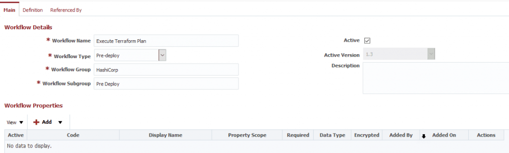 Selecting Pre-Deploy as your workflow type in the workflow details.