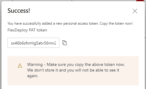 Create token success message
