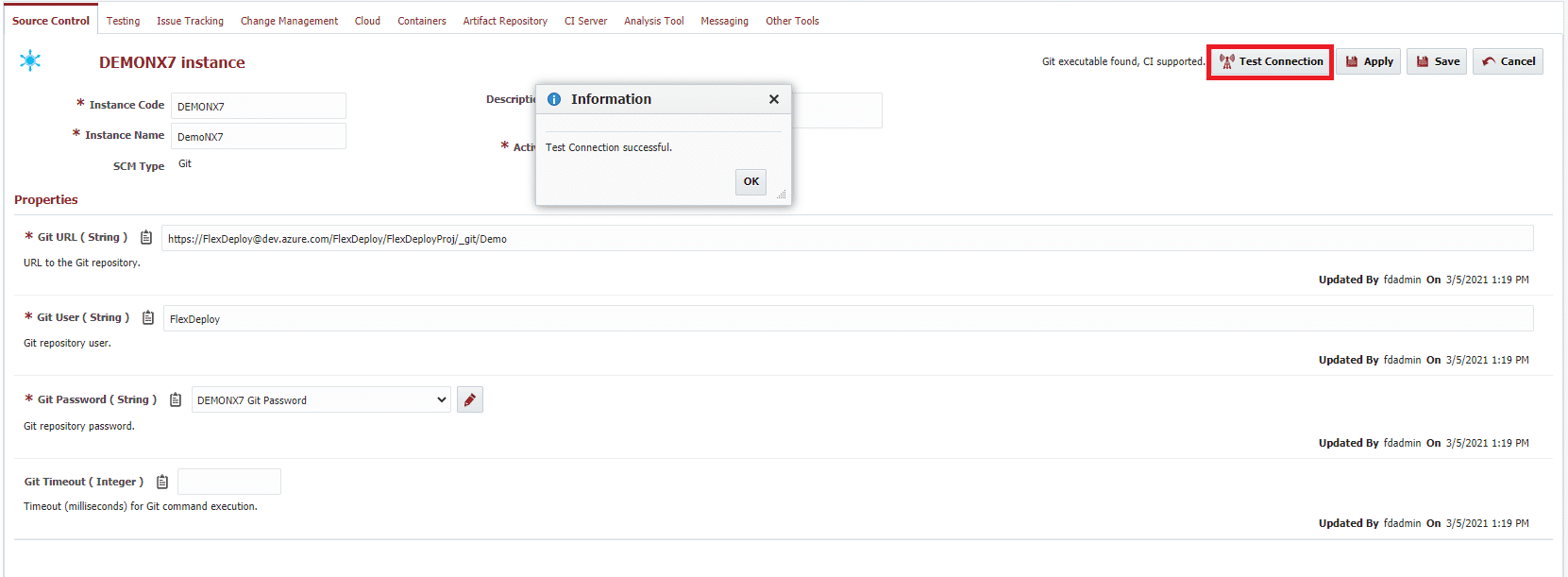 Successful Test Connection on Source Control tab
