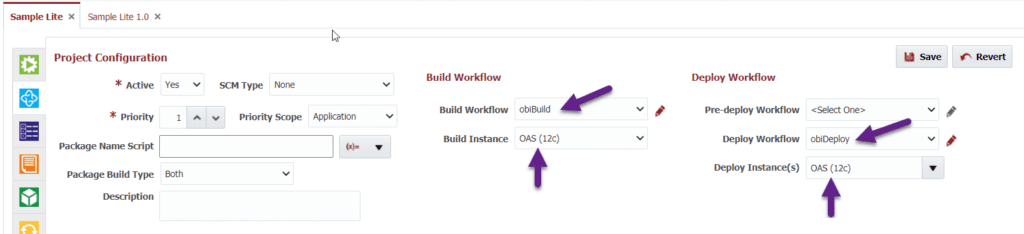 Project Configuration tab