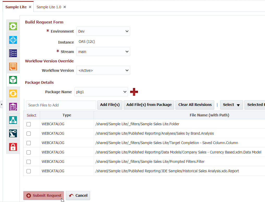 Build Request Form for Oracle Business Intelligence