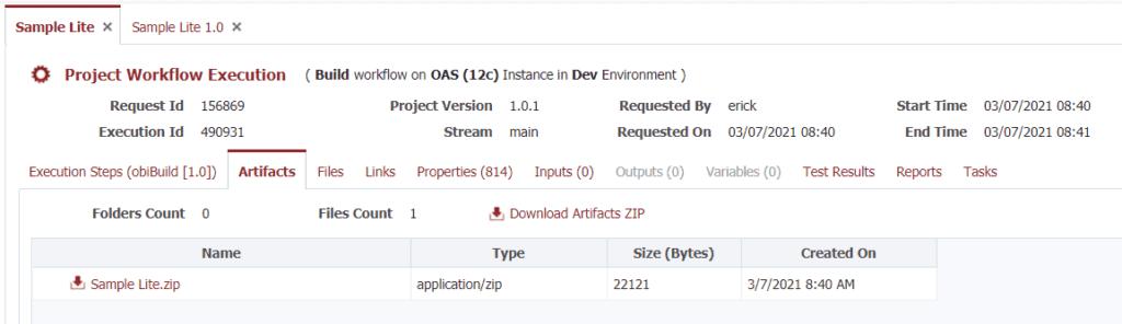 Build artifact as a zip file
