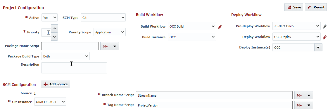 Project Configuration settings