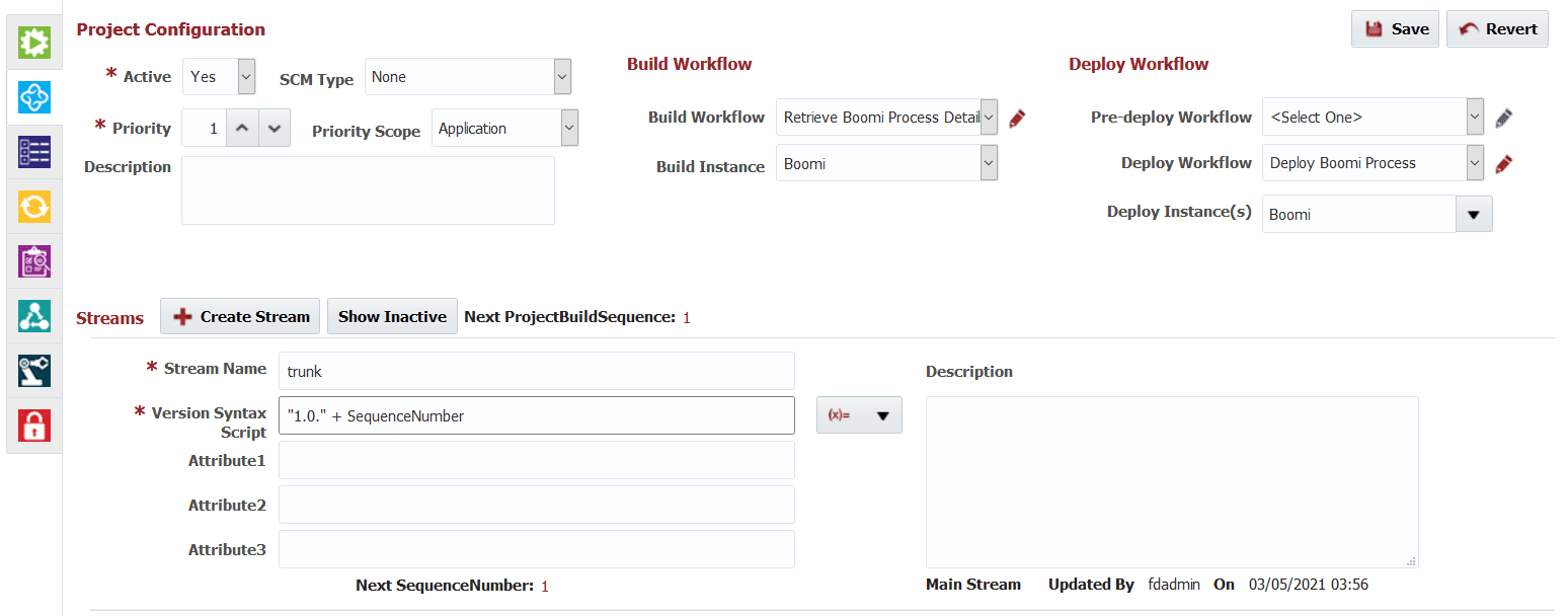Project Configuration tab of the Boomi project