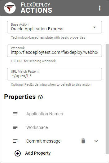 APEX Action in the FlexDeploy browser extension