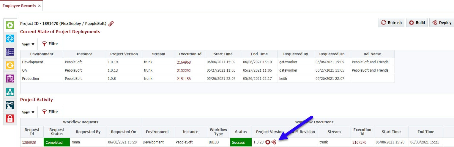 Project Version number displayed in the Deployments tab