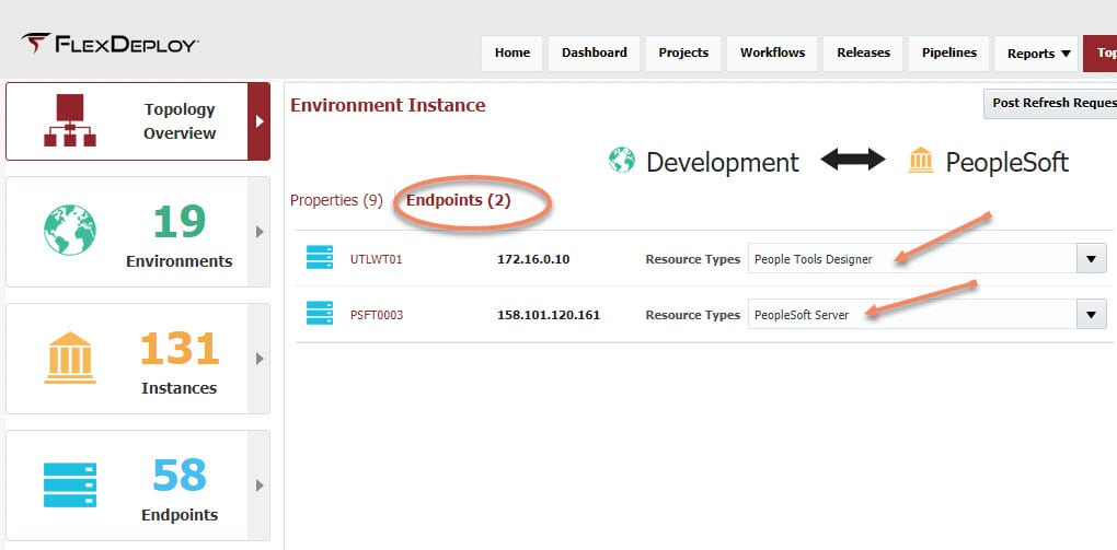 Environment endpoints set to People Tools Designer and PeopleSoft Server resources types