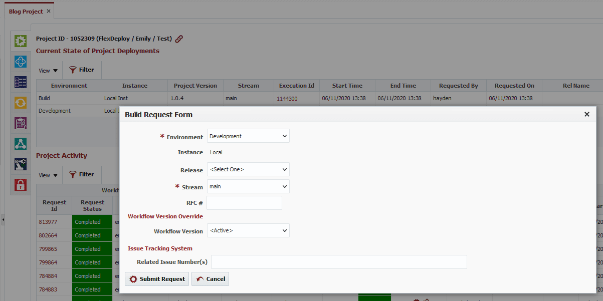 Submitting a build request