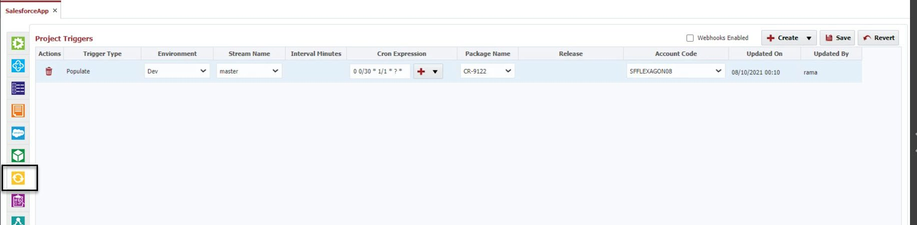 Populate trigger in FlexDeploy for Salesforce