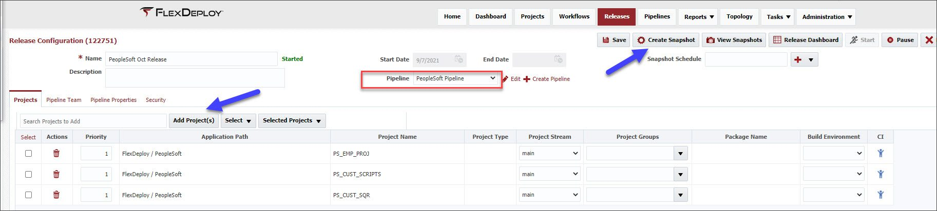 Adding projects to the PoepleSoft pipeline