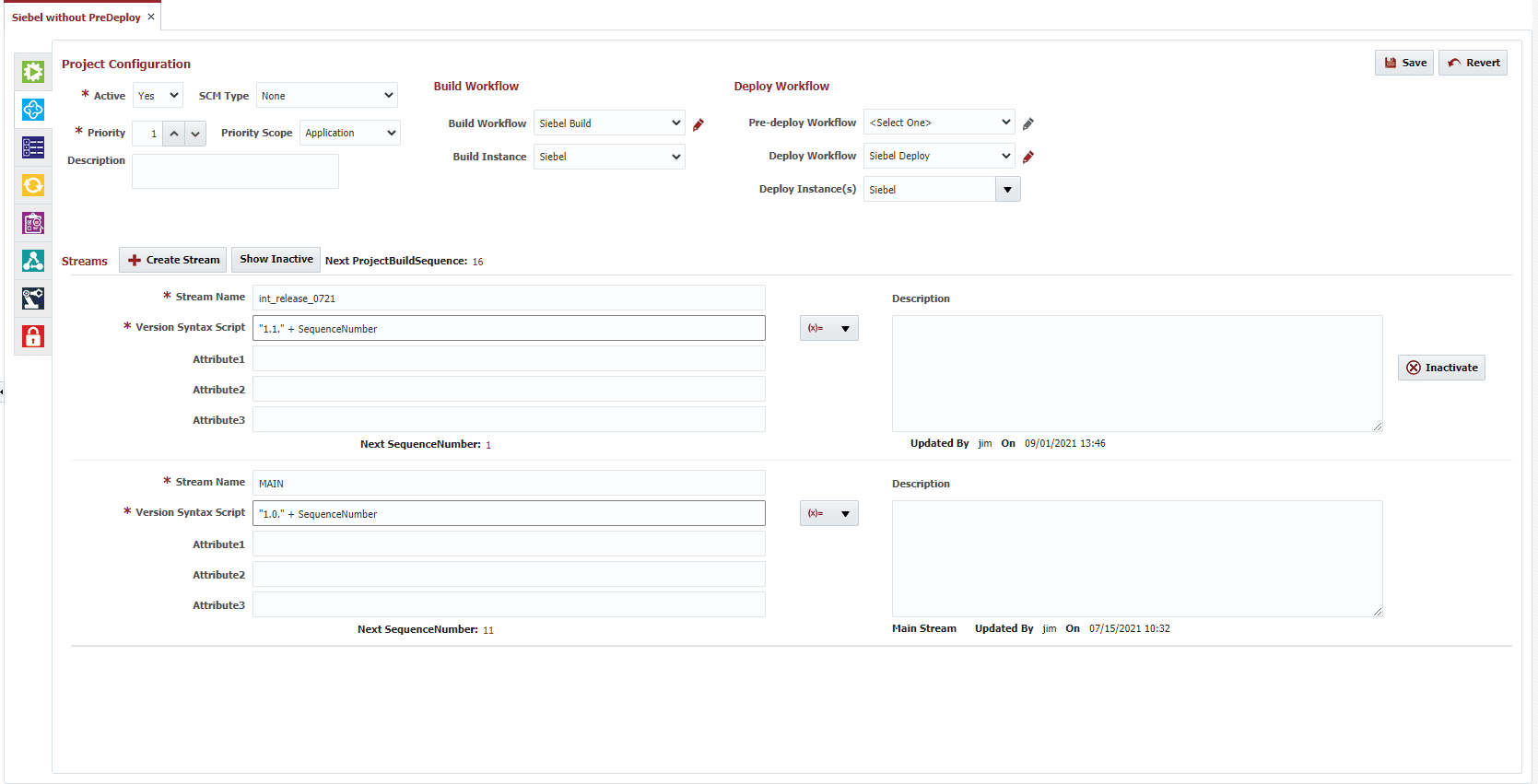 Project Configuration window for build and deploy workflows for Siebel